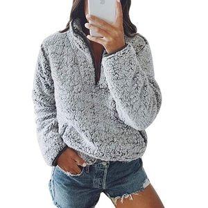 Sherpa 1/4 Zip Pullover Sweater Grey Black
